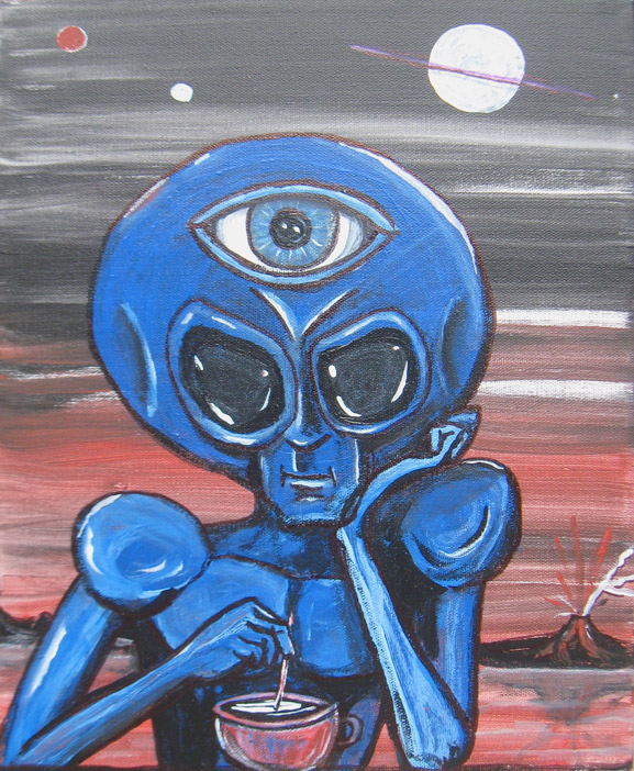 similar alien with all-seeing eye tim kelly artist nyc alien art
