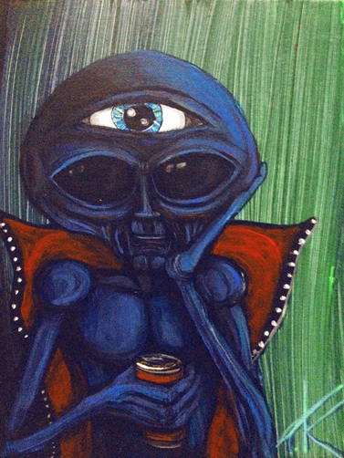 similar alien art tim kelly artist nyc alien with the all-seeing eye tk