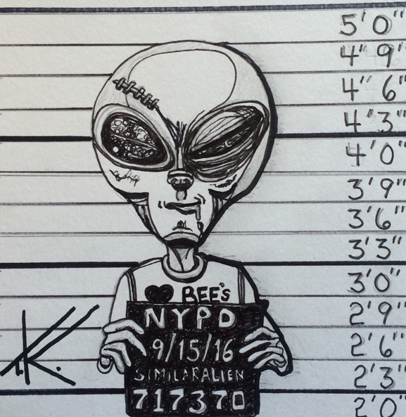 similar alien art tim kelly artist mugshot alien jail nypd lineup brooklyn nyc