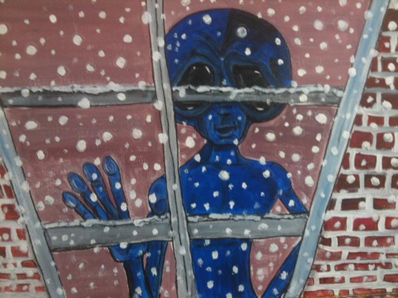 similar alien art first snow tim kelly artist alien nyc