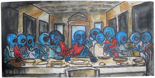 similar alien tim kelly artist alien last supper art nyc art is good