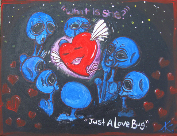 similar alien luv bug tim kelly artist nyc alien art love