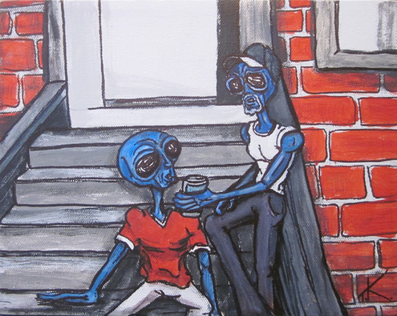 similar alien tim kelly artist nyc alien sit onstoop