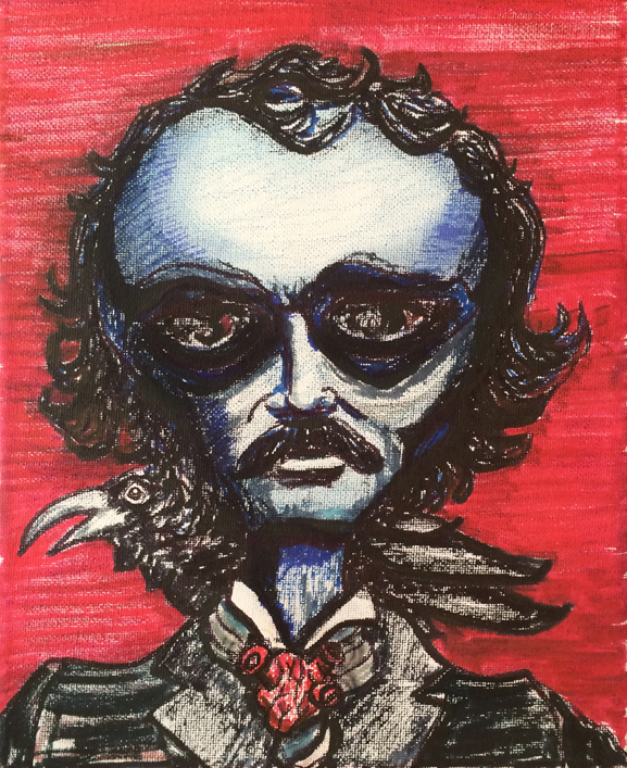 edgar allen poe similar alien tim kelly artist nyc brooklyn art alien raven tell tale heart