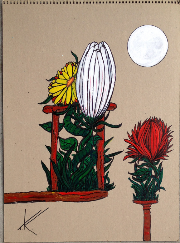 thangz change 16x20 acrylic on canvas -------tim kelly artist nyc art flowers art brooklyn moon art tim kelly