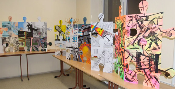 puzzle project europe comenius project italy great britian germany  slovakia czech republic tim kelly artist nyc art is good the puzzle installation and collaborative project