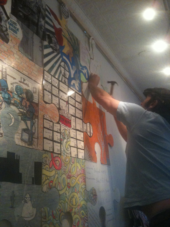 The puzzle project at happy time nyc lower east side art tim kelly artist nyc puzle project