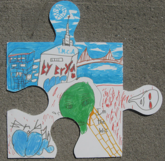 puzzle art project ymca greenpoint brooklyn PS84 art is good tim kelly artist nyc collaborative installation