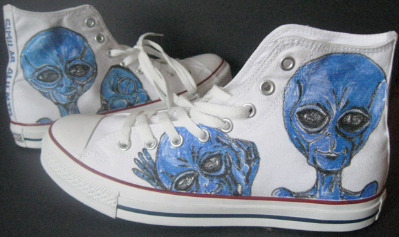 similar alien custome converse chuck taylor hightop sneakers tim kelly