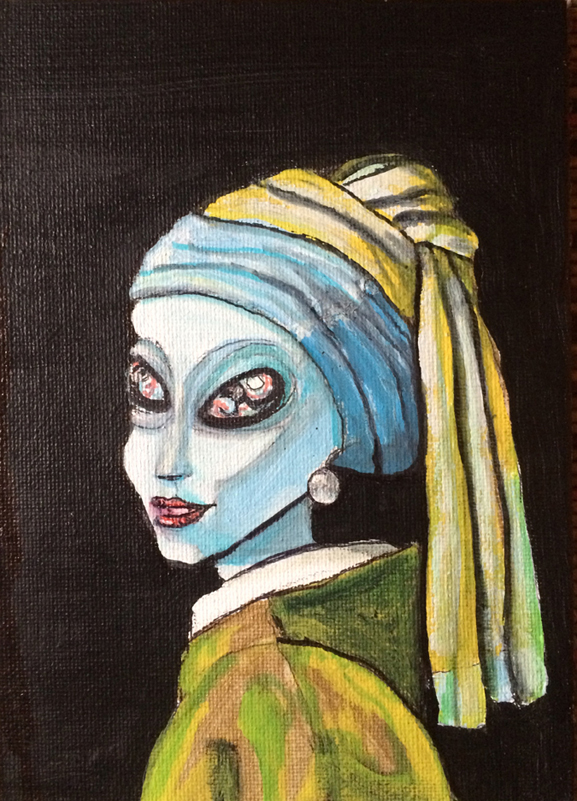 similar alien, tim kelly artist, girl with the pearl earring, paint, create, brooklyn , nyc art, tim kelly, alien art
