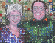 tim kelly artist chuch close style portrait of mom & dad in 90's