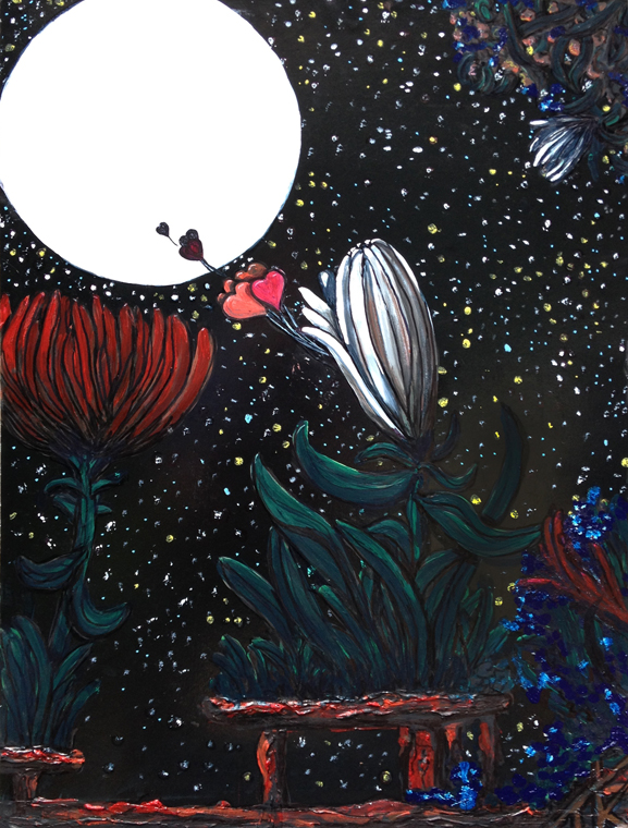 art about flowers art about moon tim kelly artist nyc brooklyn art up and away love art